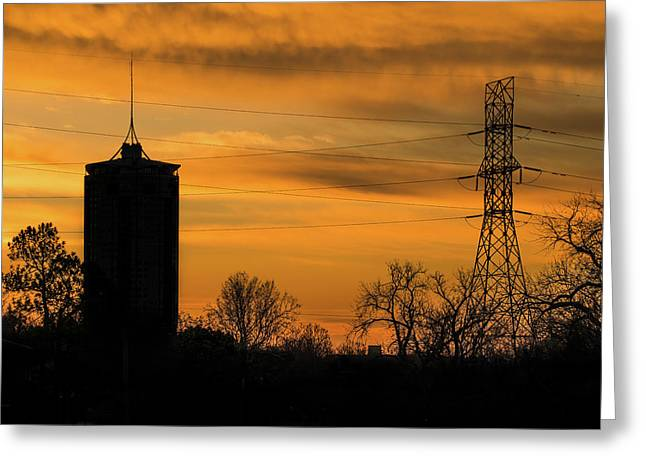 Tulsa Silhouettes And Golden Skies - University Tower Morning  Greeting Card by Gregory Ballos