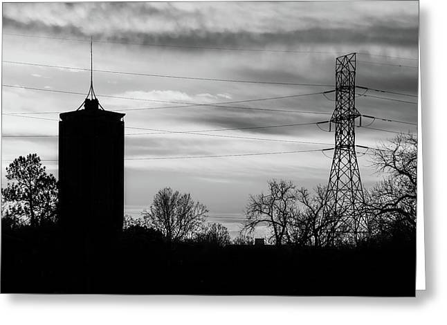 Tulsa Silhouettes In Black And White Greeting Card by Gregory Ballos