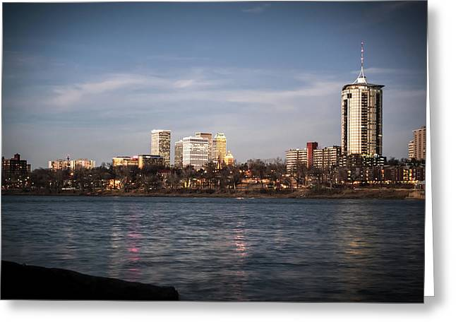 Greeting Card featuring the photograph Tulsa Skyline And Arkansas River - Vignette by Gregory Ballos