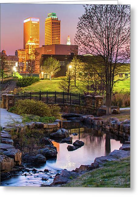 Tulsa Skyline On The River Greeting Card