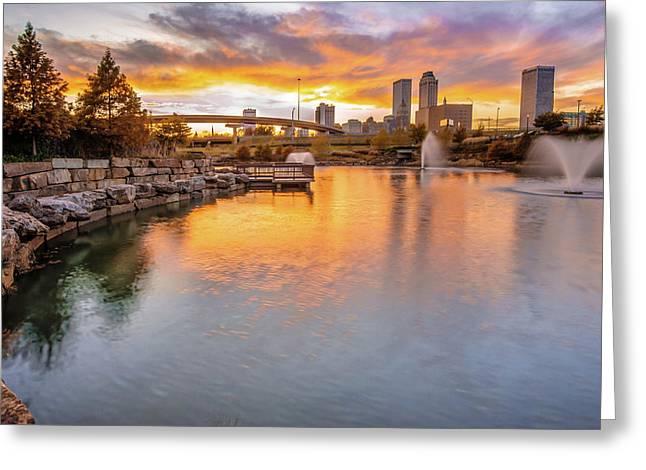 Tulsa Skyline Sunset - Oklahoma Cityscape Greeting Card