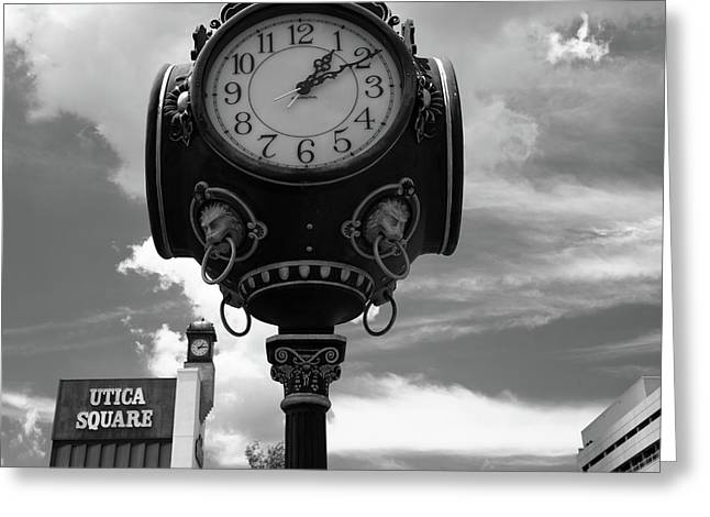 Tulsa utica square vintage clock square black and white art greeting card by gregory ballos