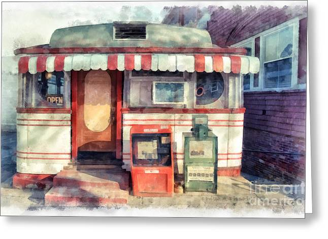 Tumble Inn Diner Watercolor Greeting Card by Edward Fielding