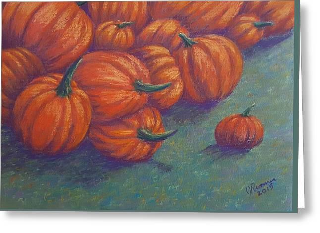 Tumbled Pumpkins Greeting Card by Joann Renner