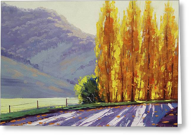 Tumut Autumn Poplars Greeting Card