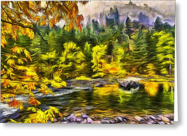 Tumwater Autumn Greeting Card by Mark Kiver