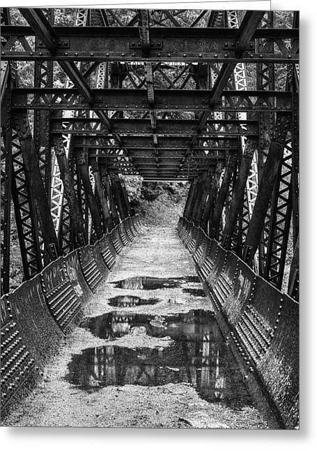 Tumwater Canyon Pipeline Bridge Black And White Greeting Card