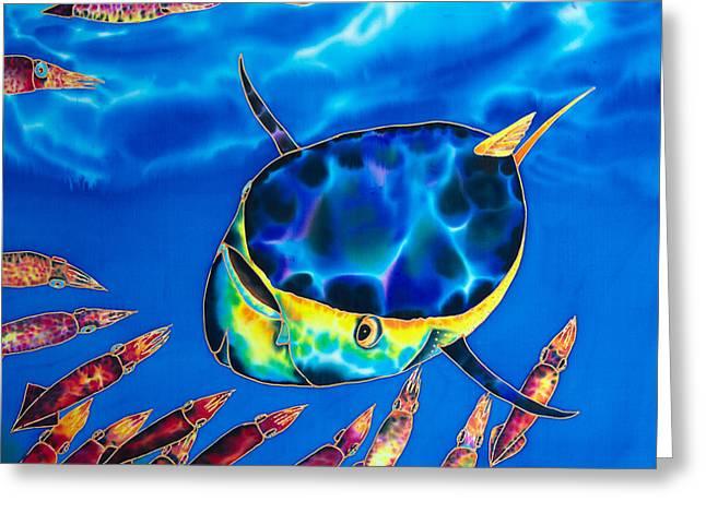 Tuna  And Squid Greeting Card by Daniel Jean-Baptiste