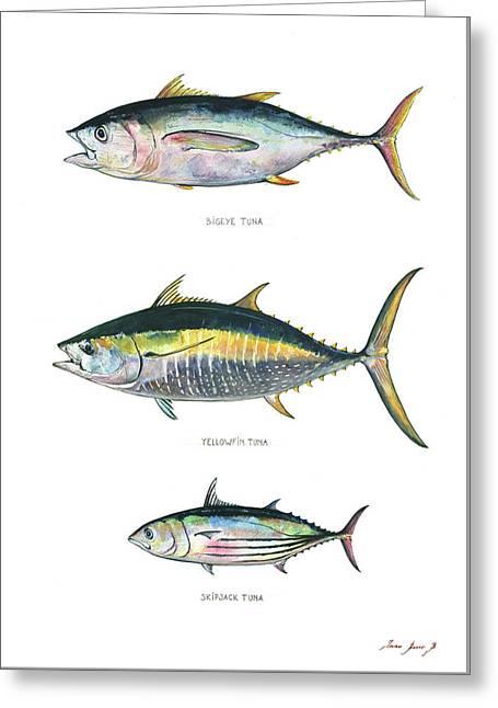 Tuna Fishes Greeting Card by Juan Bosco