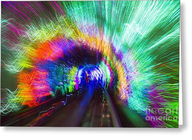Greeting Card featuring the photograph Tunnel Lights by Angela DeFrias