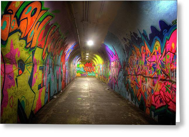 Tunnel Of Graffiti Greeting Card by Mark Andrew Thomas