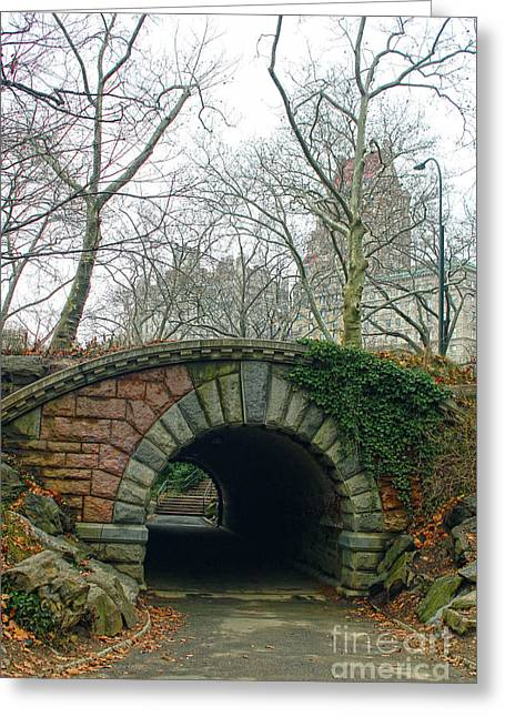 Tunnel On Pathway Greeting Card by Sandy Moulder