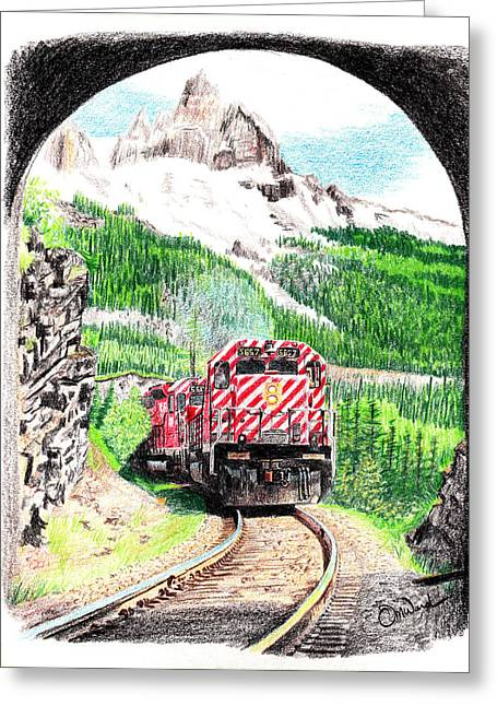 Canadian Drawings Drawings Greeting Cards - Tunnel Greeting Card by Tom Ward