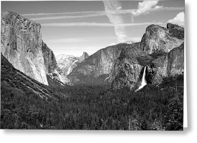 Tunnel View Yosemite B And W Greeting Card