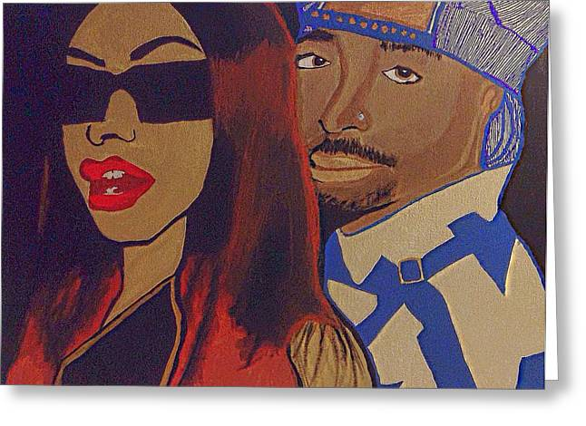 Tupac And Aaliyah The Power Couple Greeting Card by Breanna Lewis