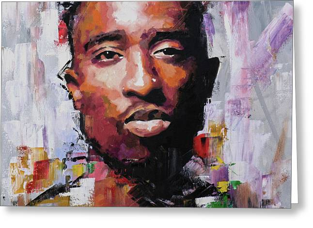 Tupac Greeting Card by Richard Day
