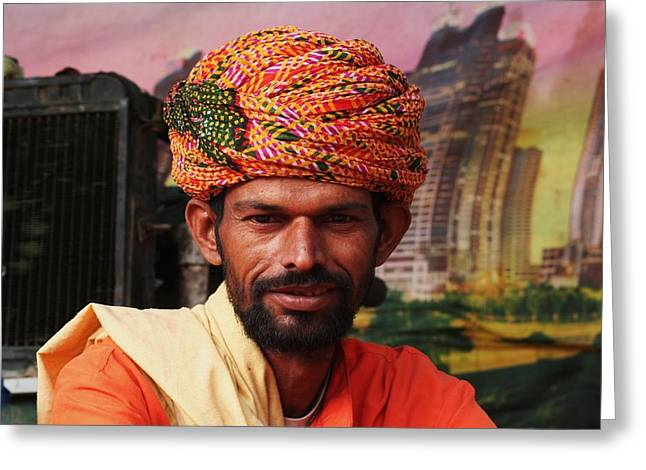 Turbanned Man Greeting Card by Mohammed Nasir