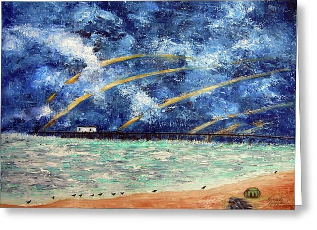 Turbulence At The Nj Shore Greeting Card by Leonardo Ruggieri