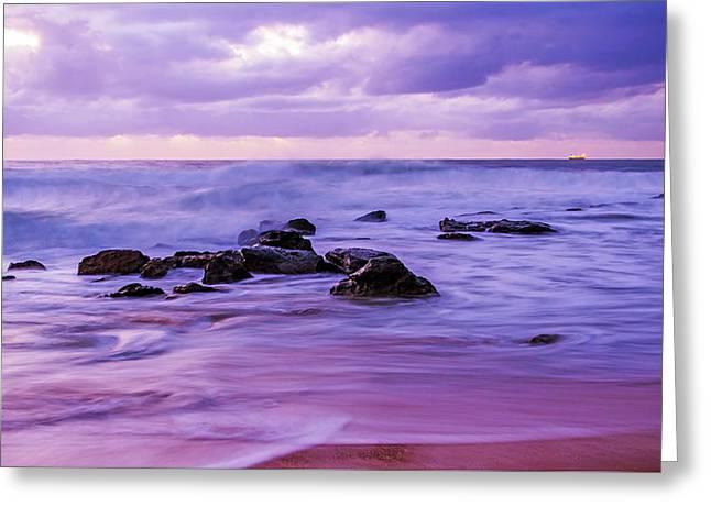Turbulent Daybreak Seascape Greeting Card