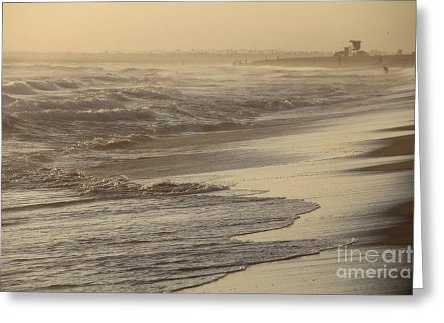 Turbulent Seas Sunset Beach Greeting Card