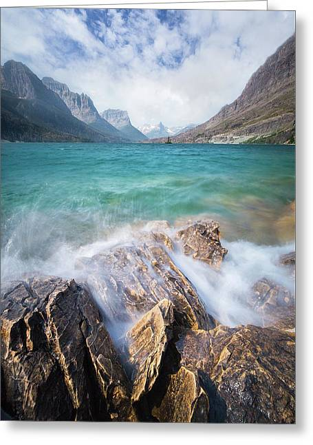 Greeting Card featuring the photograph Turbulent Shoreline // St. Mary Lake, Glacier National Park  by Nicholas Parker