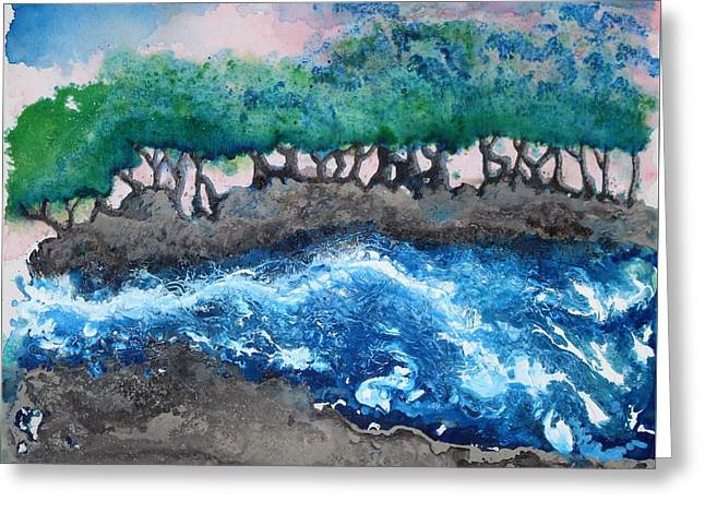 Greeting Card featuring the painting Turbulent Waters by Antonio Romero