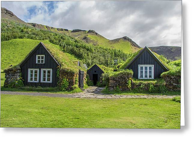 Turf Roof Houses And Shed, Skogar, Iceland Greeting Card