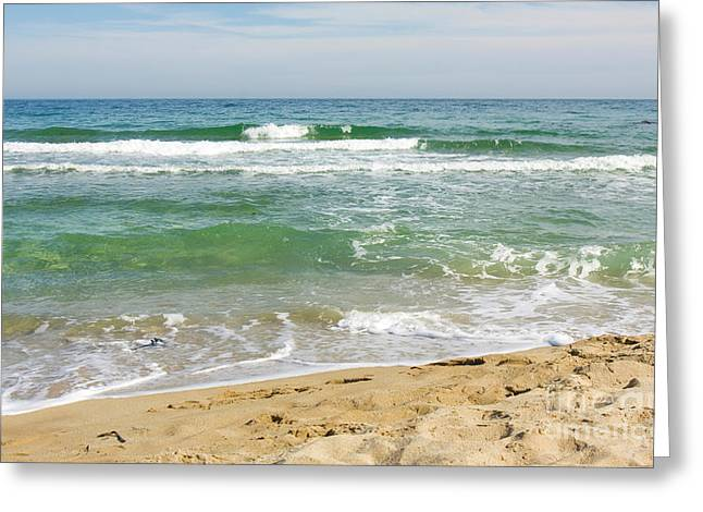 Turguoise Sea With Waves Greeting Card