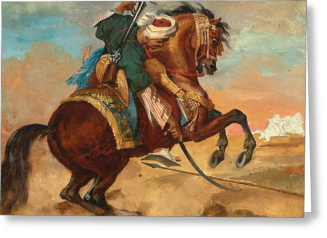 Turk Mounted On Chestnut Colored Horse Greeting Card by Theodore Gericault