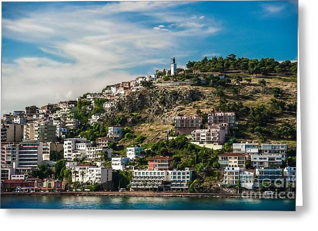 Turkey Coastal Village Greeting Card by Ken Andersen