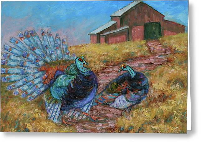 Greeting Card featuring the painting Turkey Tom's Tango by Xueling Zou