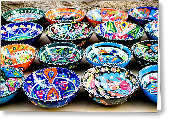 Turkish Bowls Greeting Card by Tom Gowanlock