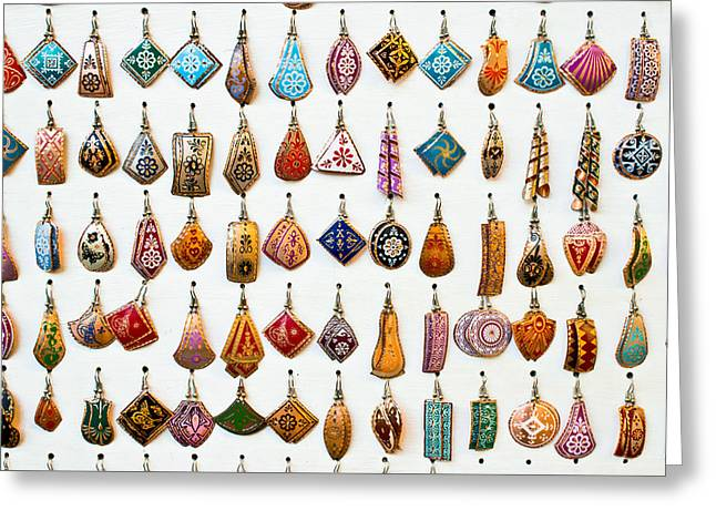 Turkish Earrings Greeting Card by Tom Gowanlock