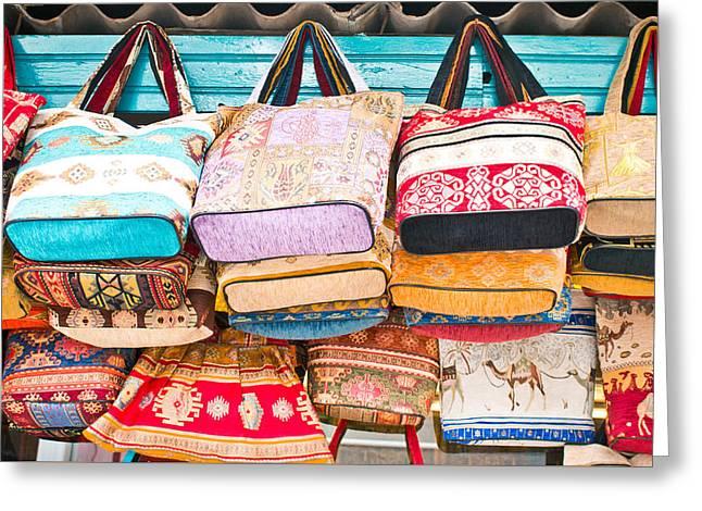 Turkish Handbags Greeting Card by Tom Gowanlock