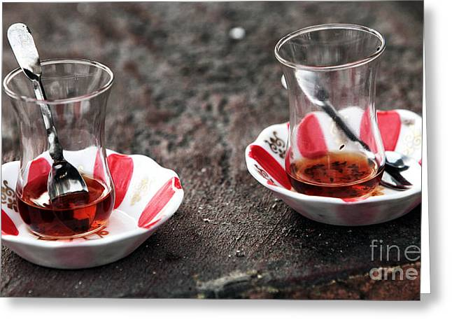 Tea For Two Greeting Cards - Turkish Tea Greeting Card by John Rizzuto