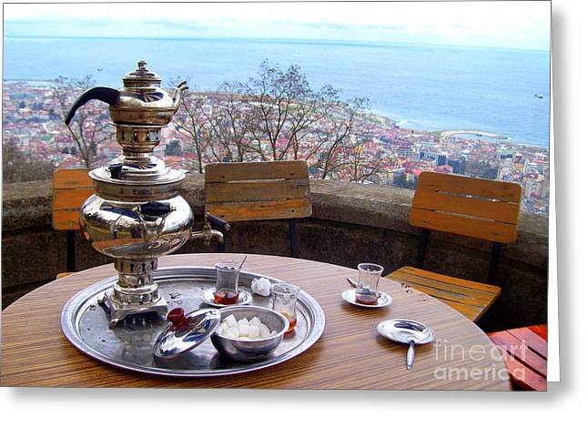 Turkish Tea On The Black Sea Greeting Card by Lou Ann Bagnall
