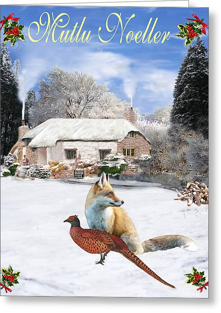 Turkish  Winter Garden Fox And Pheasant Greeting Card by Eric Kempson