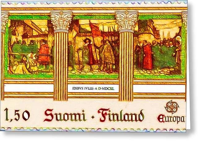 Turku Academy Inaugural Procession In 1640 Greeting Card by Lanjee Chee