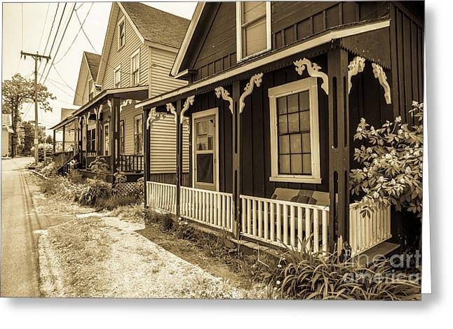 Turn Of The Century Cottages Weirs Beach New Hampshire Greeting Card by Edward Fielding