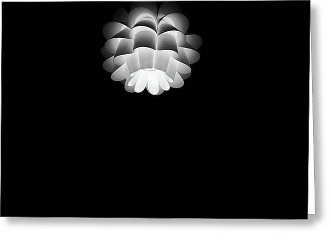 Turn On Ceiling Light Black And White Color Greeting Card by Sirikorn Techatraibhop