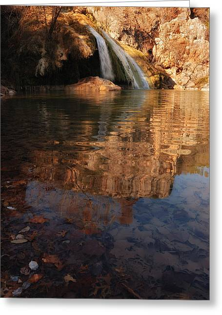 Turner Falls Autumn Reflections Greeting Card by Iris Greenwell