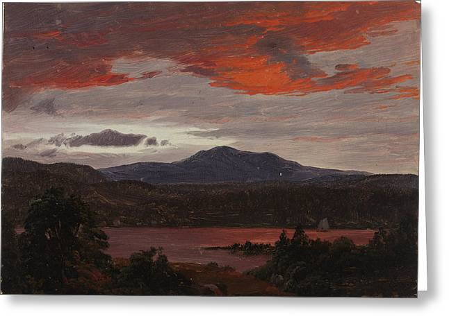 Turner Pond With Pomola Peak And Baxter Peak. Maine Greeting Card by Frederic Edwin Church