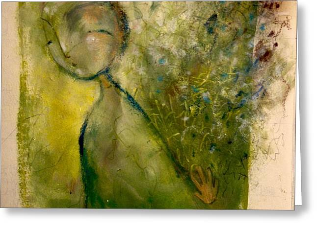 Greeting Card featuring the painting Turning Away by Eleatta Diver