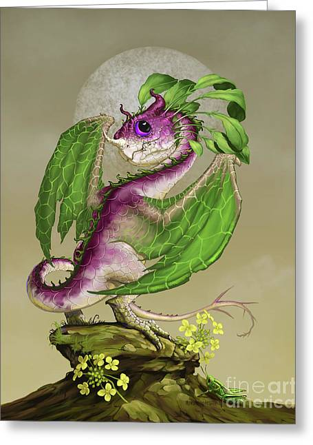 Turnip Dragon Greeting Card by Stanley Morrison