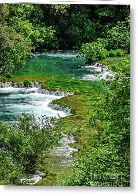 Turqouise Waterfalls Of Skradinski Buk At Krka National Park In Croatia Greeting Card