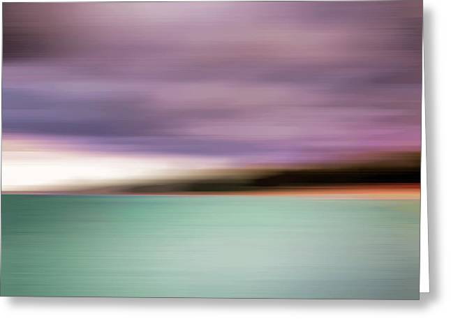 Turquoise Waters Blurred Abstract Greeting Card by Adam Romanowicz