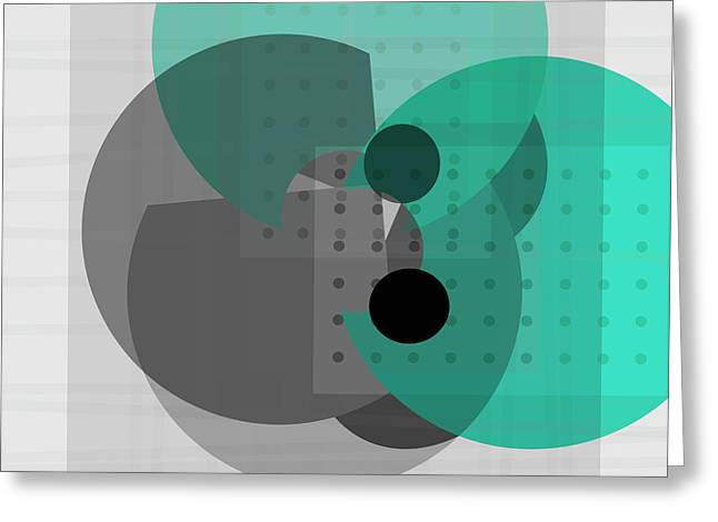 Turquoise And Gray Abstract Art Greeting Card by Ann Powell