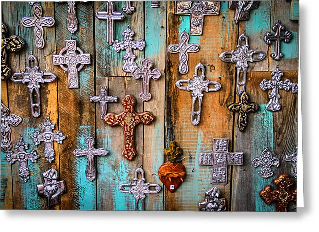 Turquoise And Crosses Greeting Card by Juli Ellen