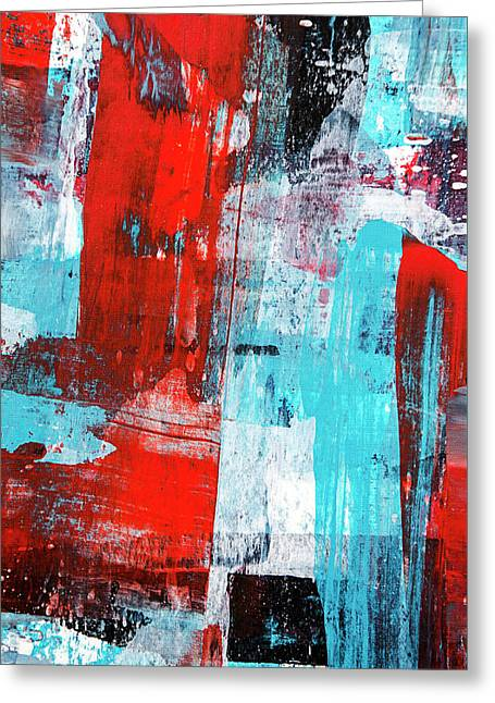 Greeting Card featuring the painting Turquoise And Red Abstract Painting by Christina Rollo