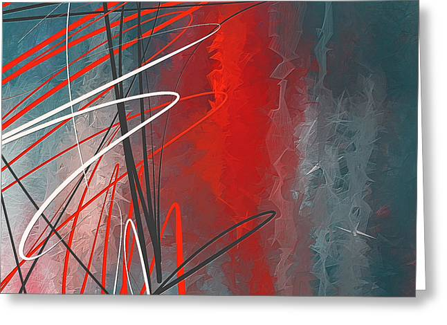Turquoise And Red Modern Abstract Greeting Card